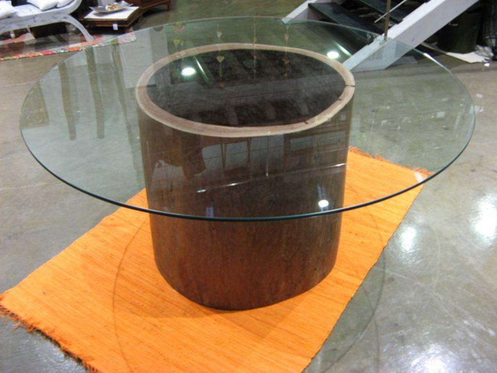 Mesa de tronco de teca cristal redonda campoloco muebles - Mesas redondas de comedor antiguas ...