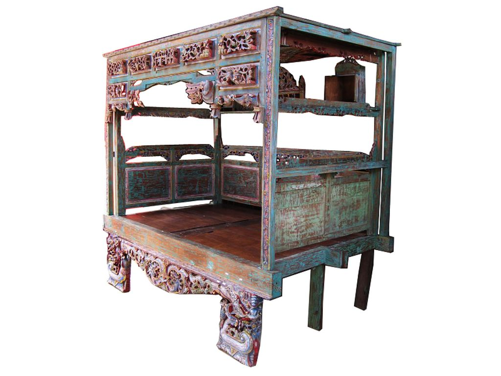 Cama China Teca Antigua Policromada Campoloco Muebles Y Decoraci N # Muebles Coqueteros