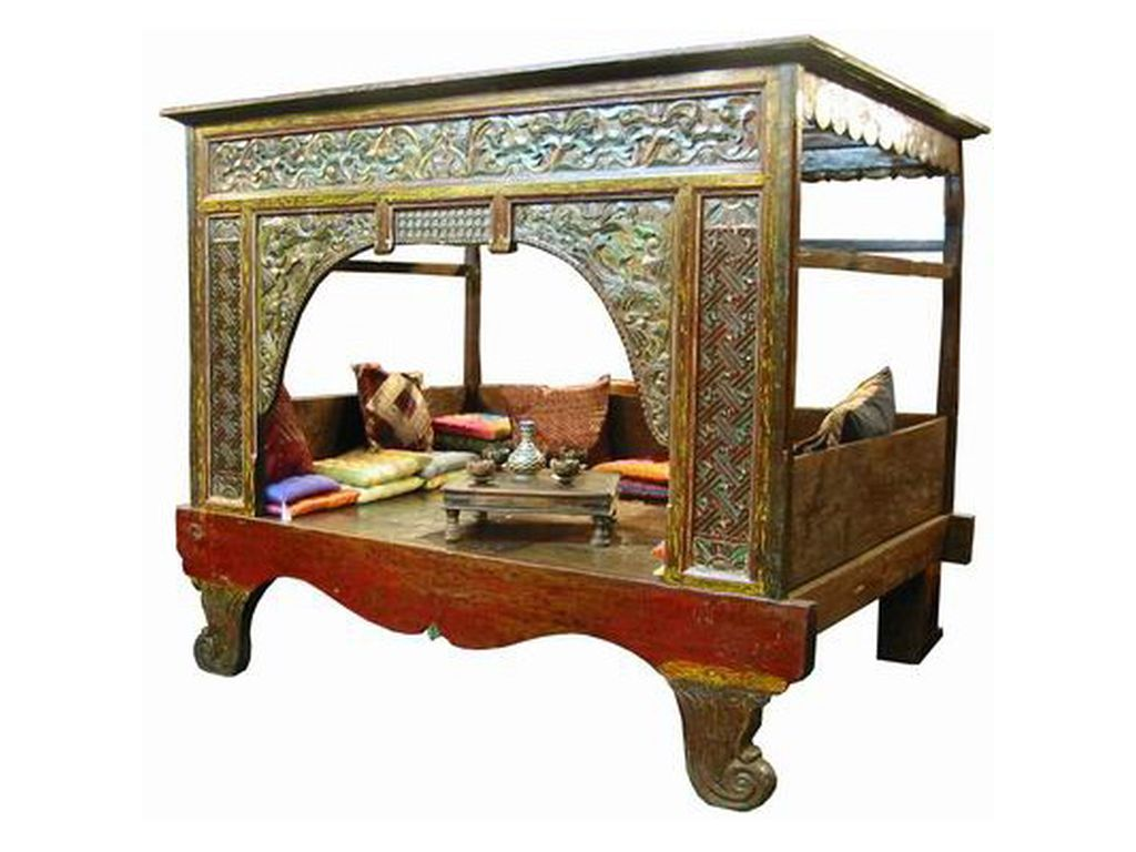Cama China Antigua Policromada Campoloco Muebles Y Decoraci N # Muebles Coqueteros