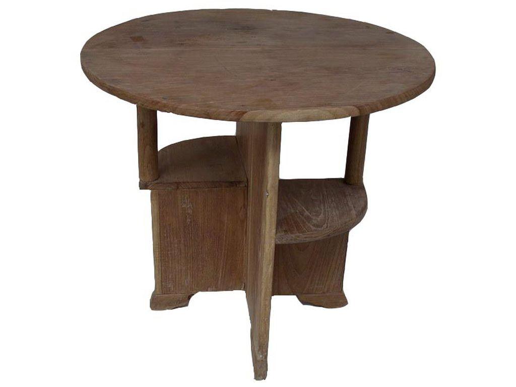 Mesa teca antigua redonda campoloco muebles y decoraci n - Mesas auxiliares antiguas ...