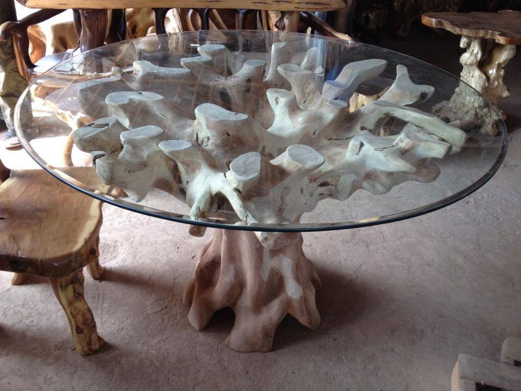 Mesa raiz de teca cristal campoloco muebles y - Mesa de teca ...