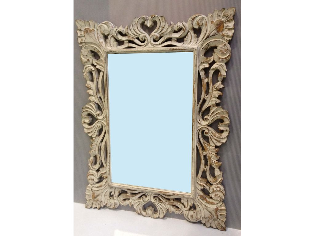 Espejo tallado blanco campoloco muebles y decoraci n for Espejos tallados