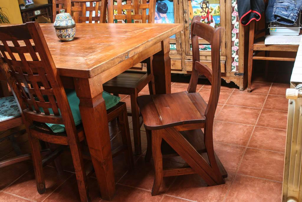 silla escalera plegable de madera