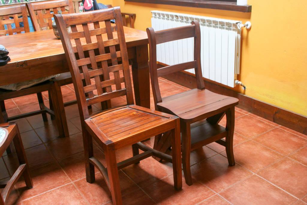 altura silla escalera de madera