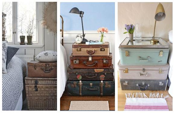 Decoraci n vintage maletas antiguas campoloco muebles y for Mesitas de noche banak